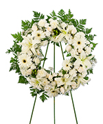 Wreath of mixed white flowers